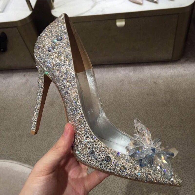 7cm Chaude Femme Minces Haute Tipe Pointu Printemps De Noce Orteils Talons Chaussures Mode D'été Cristal Bling 2018 9cm Pompes wTqdII