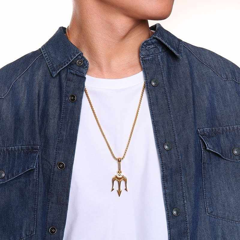 Fajne Trident naszyjniki dla mężczyzn złoty czarny srebrny Tone ze stali nierdzewnej komunikat wisiorek prezenty dla niego Hip Hop biżuteria męska
