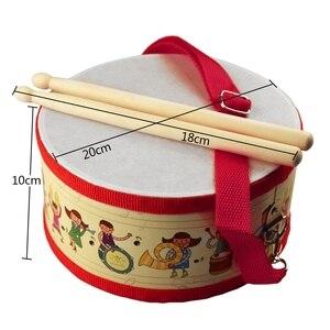 Image 4 - Tambor de madeira crianças cedo educacional instrumento musical para crianças brinquedos do bebê bater instrumento mão tambor brinquedos