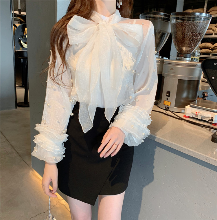 2019 Spring Girls Bow Neck Transparent Mesh   Blouses     Shirts   Tees Female Beading Sweet Chic   Blouses   Tops For Women
