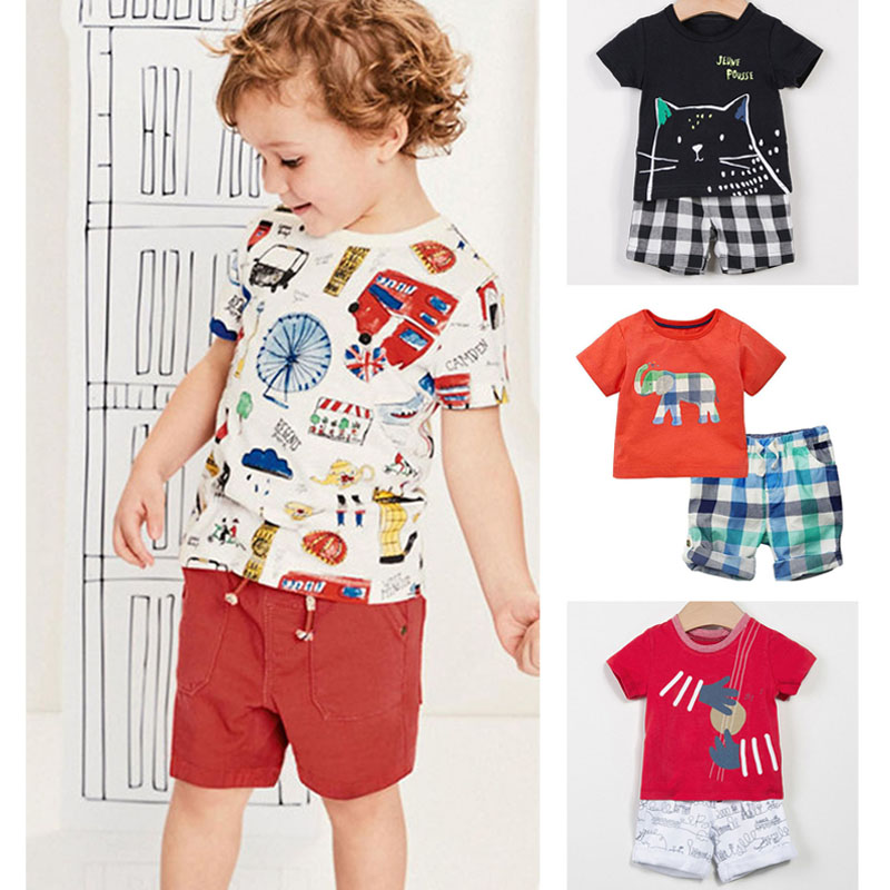 Ny 2019 Mærke Kvalitet 100% Cotton Baby Boys Beklædning Sæt Sommer - Børnetøj