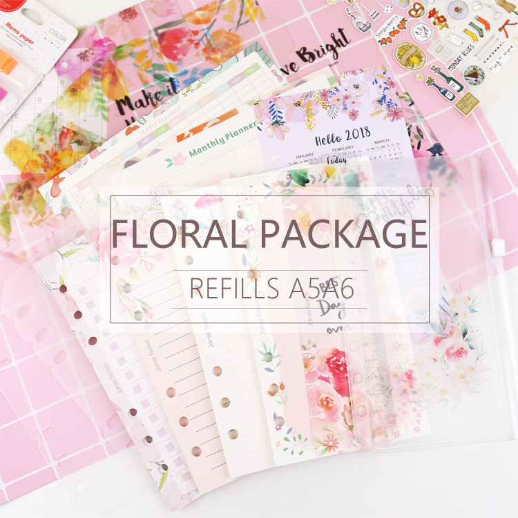 MyPretties 144 Sheets Floral Refills Package A5 A6 Refill Papers For 6 Hole Binder Organizer Notebook Papers 2019 Planner