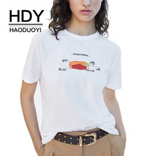 HDY Haoduoyi Women New Summer T-shirt Female Fashion Loose Casual Print Tops Short Sleeve White Mathematics Graphic Tees Girls