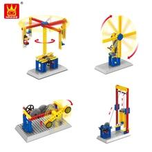 Wange 3 in 1 Mechanical Engineering Building Blocks Bricks Carousel Windmill Shooting Machine Lift Model Teaching Aid Toys