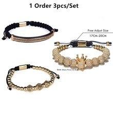 3pcs/Set Hip Hop Gold Crown 8MM Bracelets for men