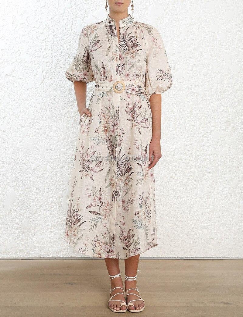 ผ้าลินิน 100% Wayfarer ชุดเสื้อยาว   Cream Tropical พิมพ์ Midi ชุดแมนดาริน & Elasticated Cuff & Matching Buckle เข็มขัด-ใน ชุดเดรส จาก เสื้อผ้าสตรี บน   1
