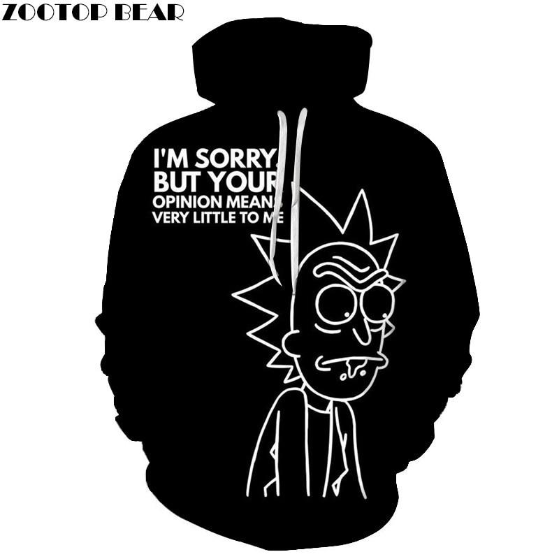 Black Ricky 3D Printed Men Hoody Funny Sweatshirt Tracksuit Hoodies Pullover Streetwear Cloth Unisex S-6XL DropShip ZOOTOPBEAR