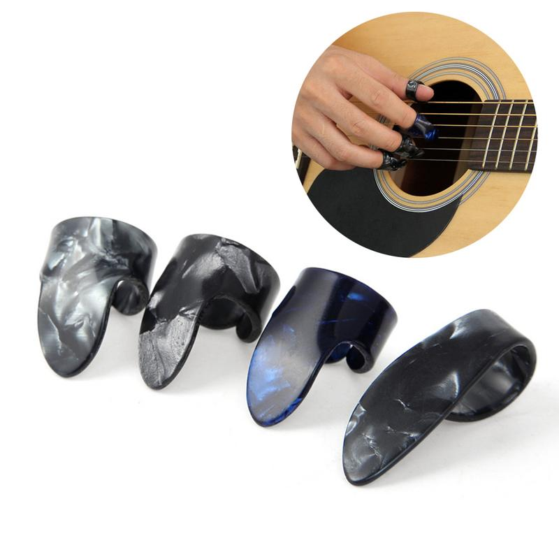 1 Thumb + 3 Finger Acoustic Nail Guitar Pick Celluloid Mediator Thumbpick Plectrums Sheath For Acoustic Electric Bass Guitarra