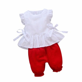 2019 New Summer Baby Girls Clothing Children Lace T-Shirt Shorts 2pcs/Sets Infant Suit Comfortable Cotton Kids Casual Tracksuits