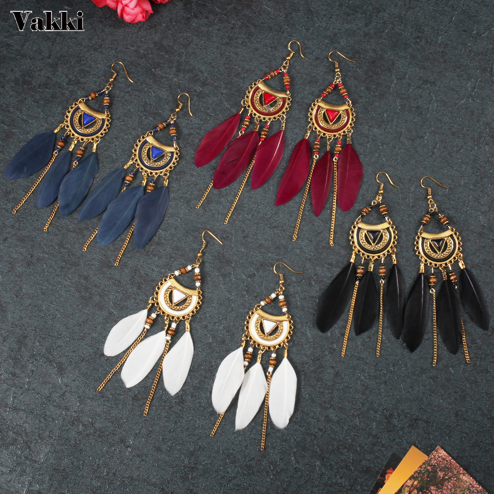 New Bohemia Feather Beads Long Earrings for Women Jewelry fashion Chain Tassel Drop Statement Darrings For Ladies
