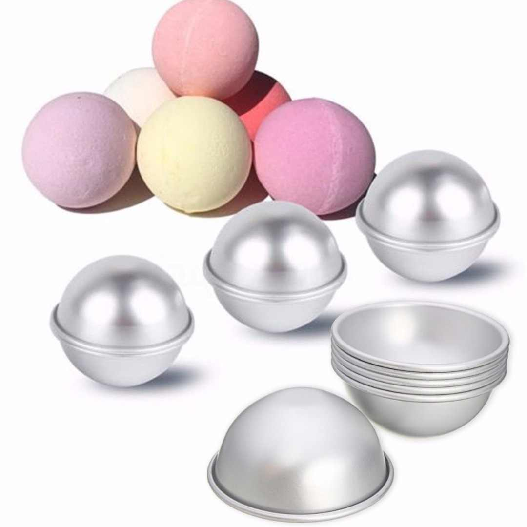 6pcs 3 Sets Newest 65mm Aluminum Silver Round DIY Bath Bomb Molds For Fizzy Sphere