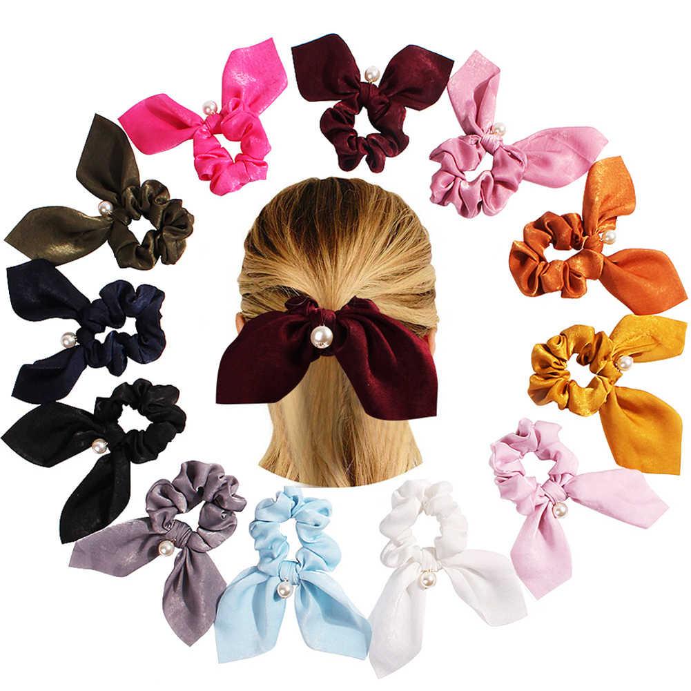 Красочные весенние романтические Прекрасный бант из атласной ленты Жемчуг Веревка для волос Шелковый конский хвост резинки для женщин Девушка аксессуары для волос