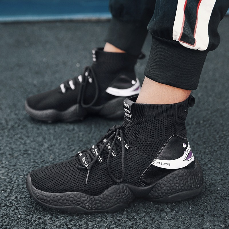 77b2ba48be2f 2018 Hot Sale Fashion Socks Shoes All Black High Top Casual Shoes ...
