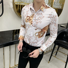 2019 Spring Autumn Men Tiger Print Shirt men Slim Fit casual Shirts Chemise Homme Floral Social