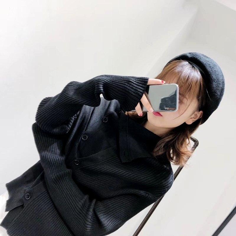 Cardigan Donne Di A Lavoro cachi Maglia Lavorato Cappotto Il grigio Nero Manica Monopetto Solido Autunno Abbigliamento Lunga Casual Femminile wHHdtr