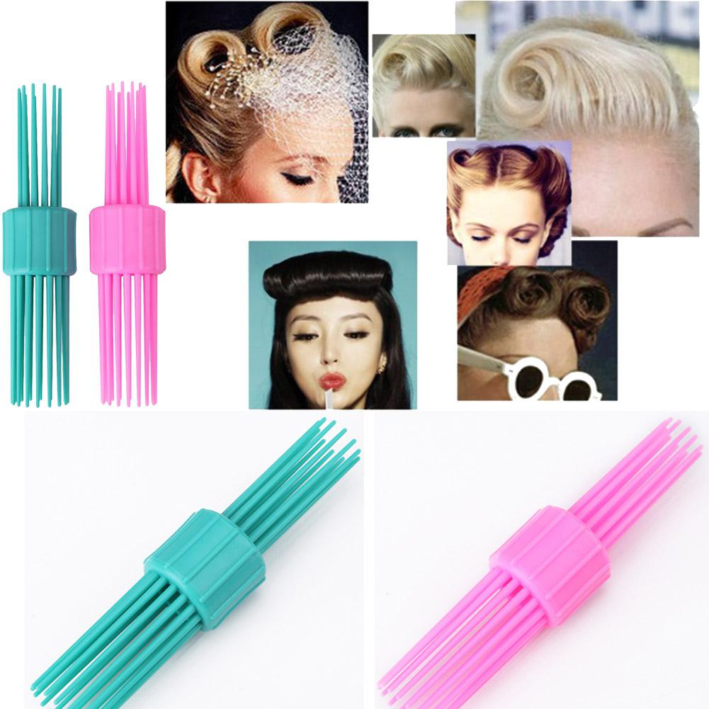 BellyLady Vintage Rolling Hair Style Comb Double Head Hairbrush Pinned Curl Roll Bang Stand-up Roll Brush Hairstyle Tool