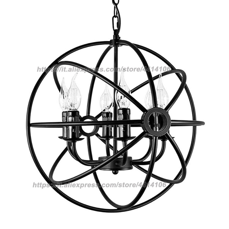 GERMAN Design and Quality Industrial Metal Cage Pendant Light Spherical Light Globe Hanging Light Black 4 Light in Pendant Lights from Lights Lighting