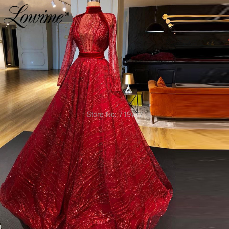 Red Glitter African Prom Dresses Muslim Formal Evening Gown For Middle East Robe De Soiree 2019 Arabic Dubai Party Gowns Kaftans