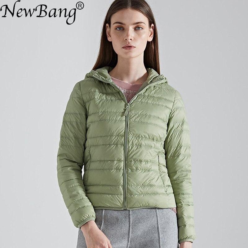 NewBang Brand   Down     Coat   female Ultra Light   Down   Jacket Women Hooded Lightweight Warm Slim   Down     Coat   Portable ladies   Coats