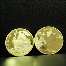 5pcs/lot free shipping  RMS Titanic Gold Plated Commemorative Coin Journey of the
