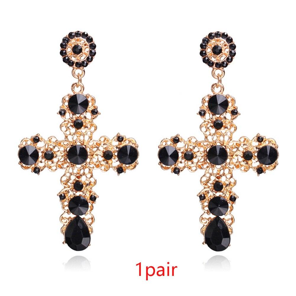Fabala Luxury Hollow Dangling Earrings Eardrop Jewelry Crystal Cross Diamond