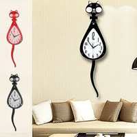 European Style Wooden Digital Wall Clock Modern Cats Design Swinging Tail Hanging Pendulum Clocks Wall Decor Ornaments