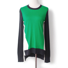 YUNINYOYO   autumn thin cotton knitwear color Blocking round neck geometric pattern  short front end and long back end jumper цена 2017