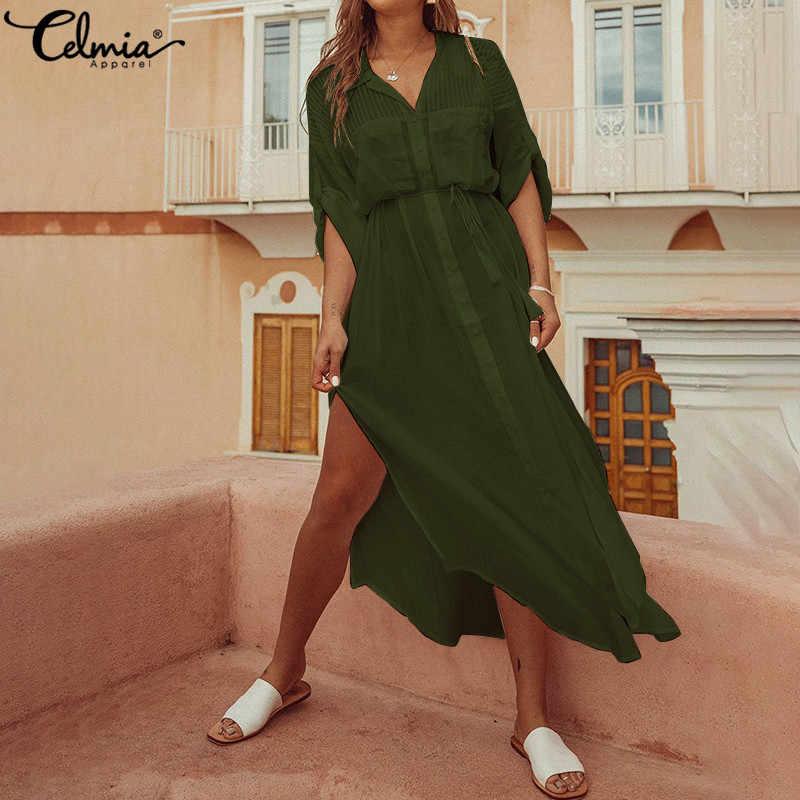 43af630943299 Celmia Plus Size Women Maxi Long Dress 2019 Summer Sexy V Neck Split Shirt  Dresses Belt Causal Loose Buttons Party Vestidos Robe