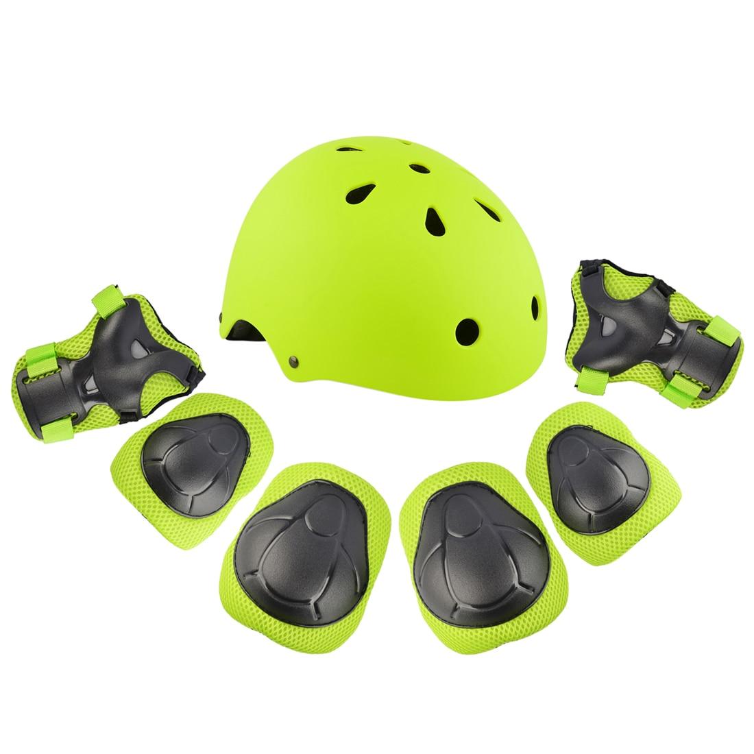 7Pcs Child Adult Skating Board Safety Helmet Set Knee Elbow Wrist Pad Protector