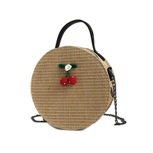 New Round Straw Bags Handmade Woven Beach Handbag Popularity Crossbody Women Shoulder Bag Holiday