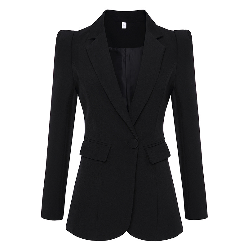 High Quality White Blazer Jacket Feminino Office Lady Full Sleeve Slim Fit Two Pockets Women Blazers And Jackets 1856