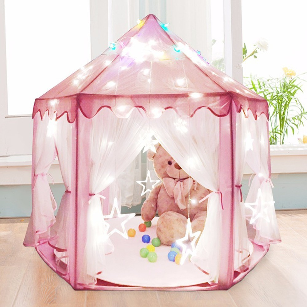 Pink Princess Castle Children Girls Indoor House Folding Play Kids Balls Pool Tipi Teepee Ballenbak Baby Playhouse Dream Tent