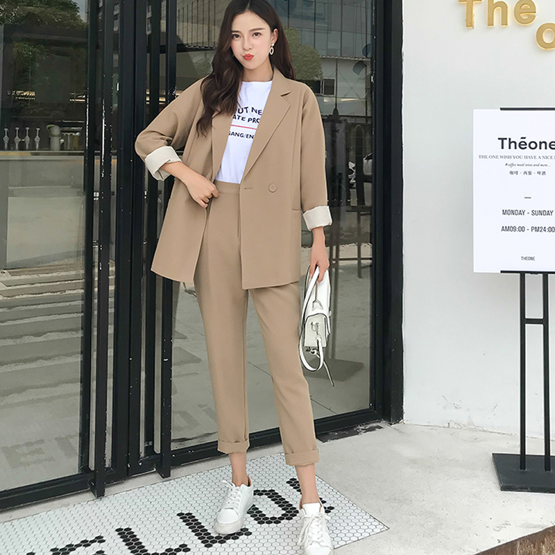 2019 High Quality Casual Solid Women Pant Suits Notched Kraag Blazer Jacket & Pencil Broek Kaki Women's Pack Herfst