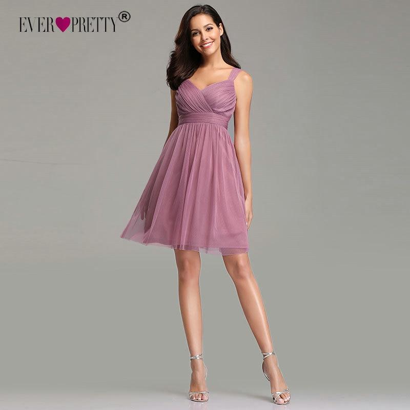 Ever Pretty Plus Size Dusty Pink Homecoming Dresses 2019 EZ03034 Sweetheart Tulle A-line V-neck Vestido Graduacion Corto Mujer
