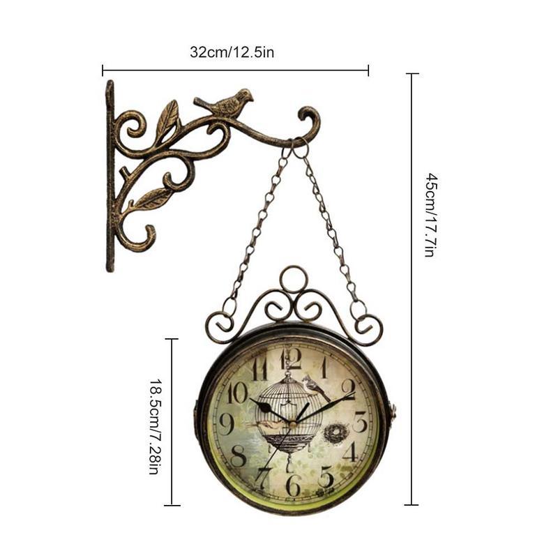 Horloge murale innovante-rétro Double face Simple silencieux Quartz horloge en fer forgé horloge ronde pour la décoration de salon - 4