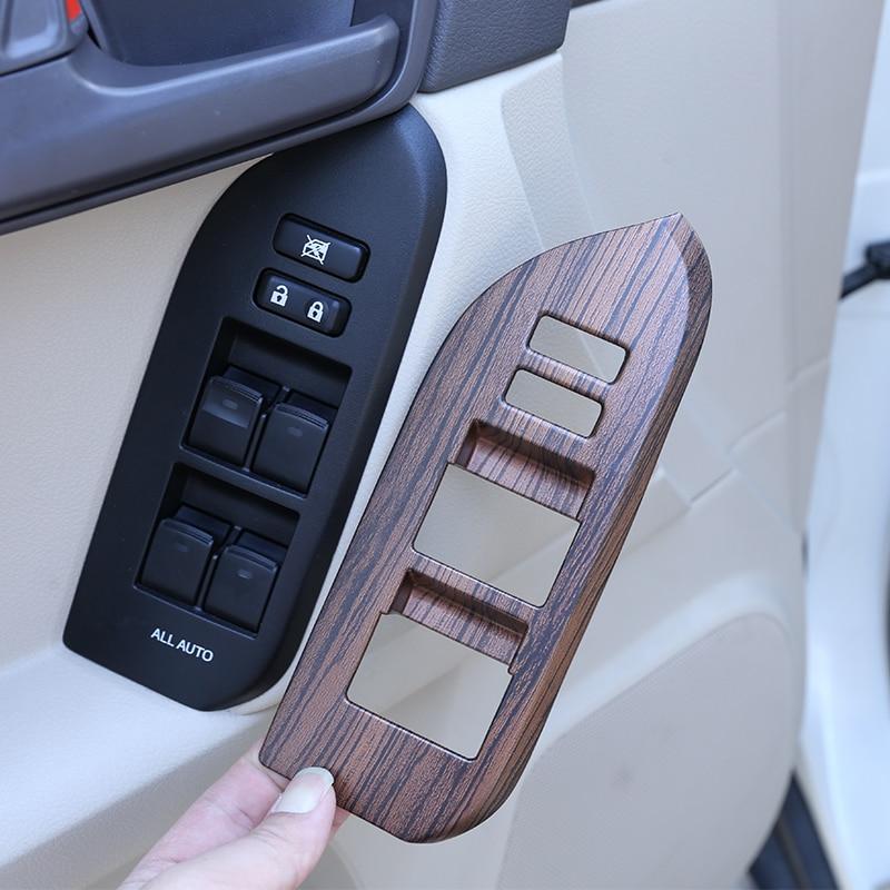 Pour Toyota Land Cruiser Prado FJ150 150 2014-2018 accessoire de voiture pin bois Grain ABS voiture lève-vitre bouton cadre garniture pour LHD