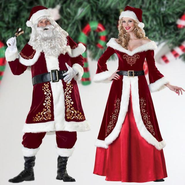 Men Women Santa Claus Costume Adult Plush Christmas Suit Santa