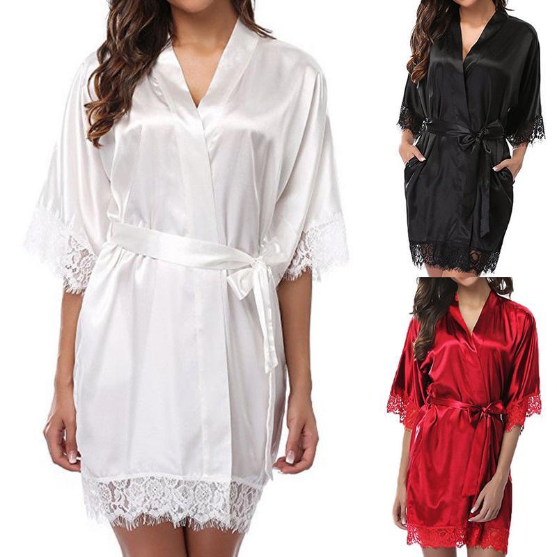 Autumn Sexy Home Dresses Women New Fashion Plus Size Nightgowns Sleepshirt For Ladies Lace SleepWear Silk Nighty Sleeping Dress