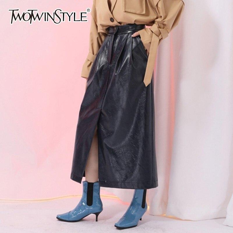 TWOTWINSTYLE PU Leather Skirts Female High Waist Front Split Midi Pleated Skirt Women Vintage Fashion 2019