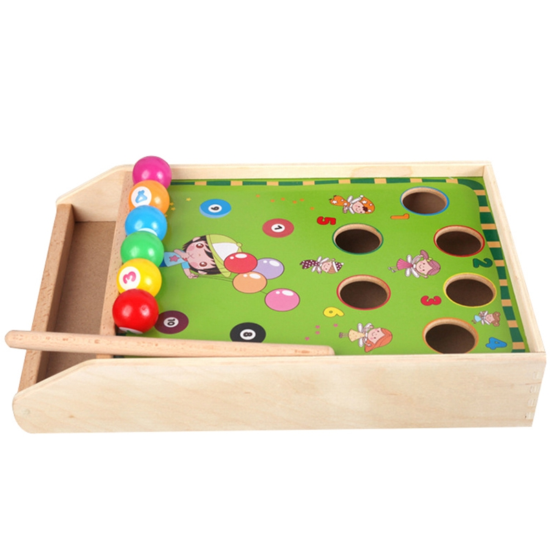 FBIL-Wooden Billiards Mini Desktop Billiards Fun Billiard Game Billiards