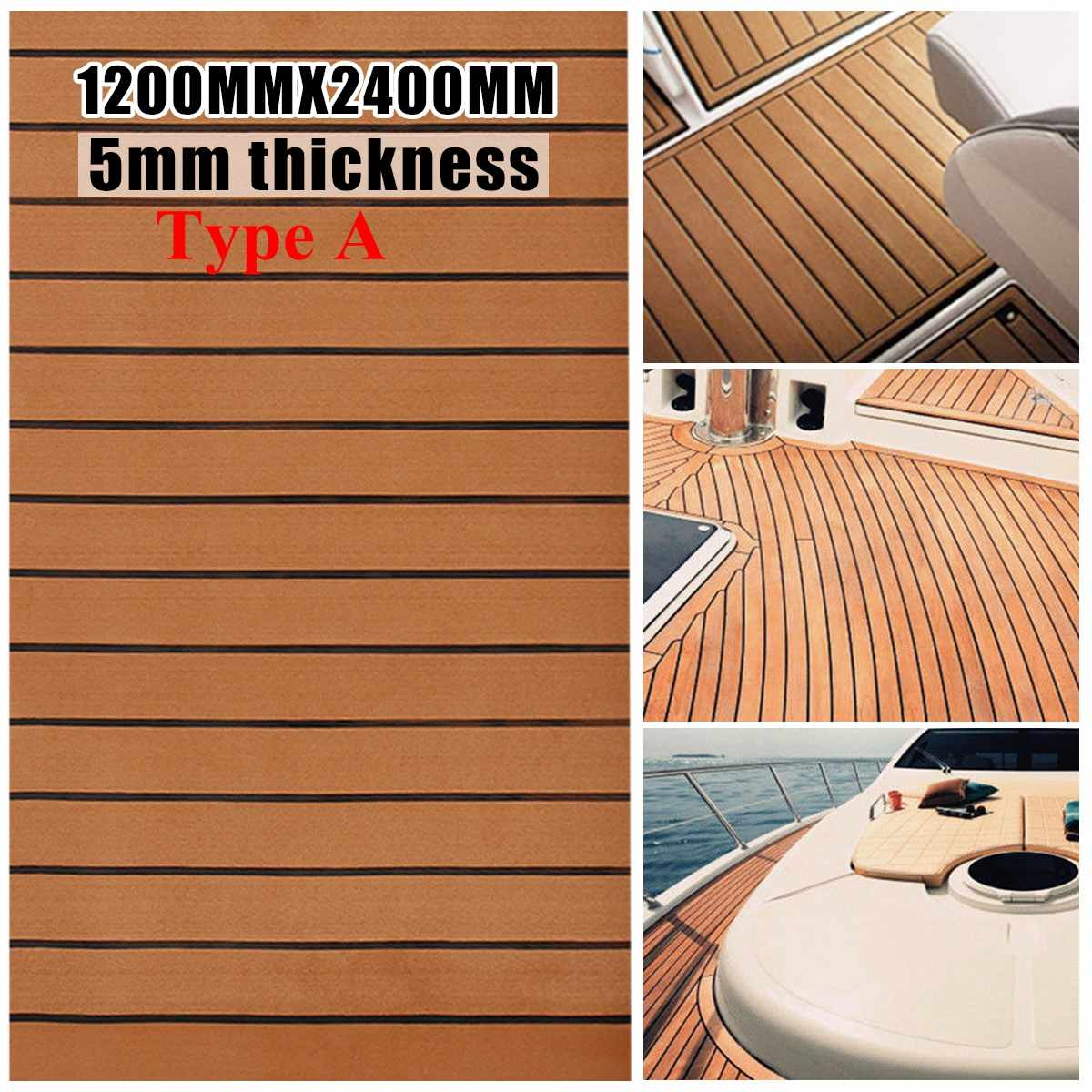 Multi-taille EVA mousse Faux teck platelage feuille brun foncé Marine bateau 35