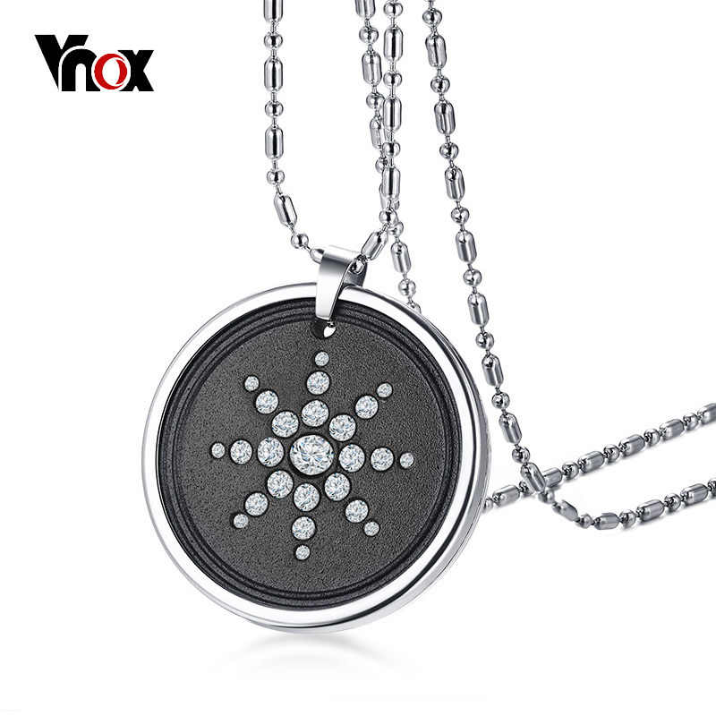 "Vnox Scalar Quantum Energy Ions Pendant for Men Necklace Lava Stone Crystals Stainless Steel 25"" Chain w/ Box Card Male Jewelry"