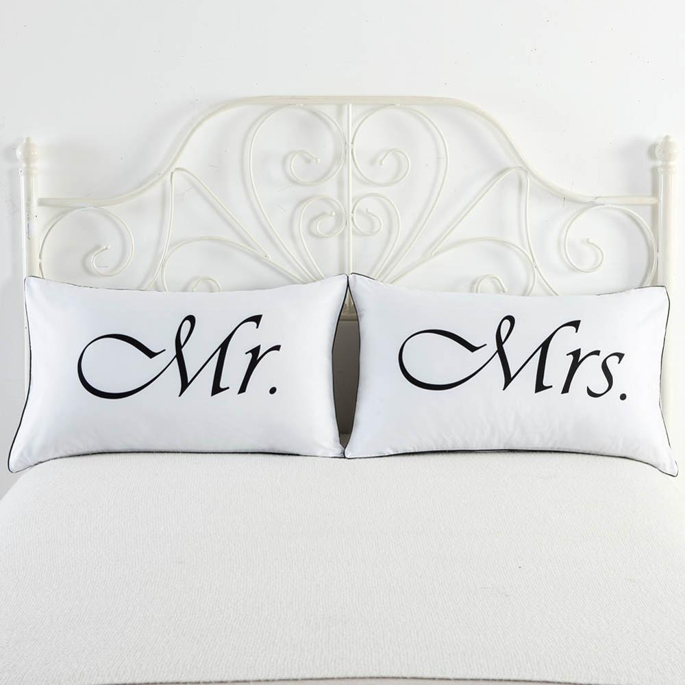 MR / MRS White Skull Couple Pillow Case Throw Pillowcases Lovers Couple Gift 1 piece Pillow Slip Bedding Decorative Home Textile