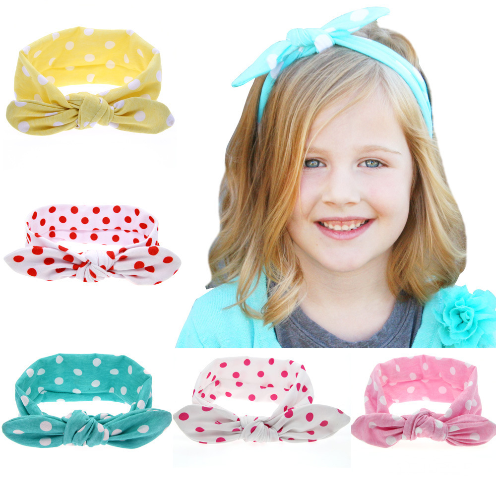 MAYA STEPAN 1 Piece Children Fashion Dot Rabbit Hair Head Band Accessories Baby Newborn Hair Rope Headband Headwear Headwrap