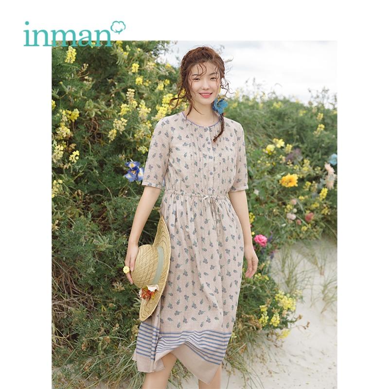INMAN Summer New Arrival O-neck Literary Retro Defined Waist Slim Long A-line Women Dress