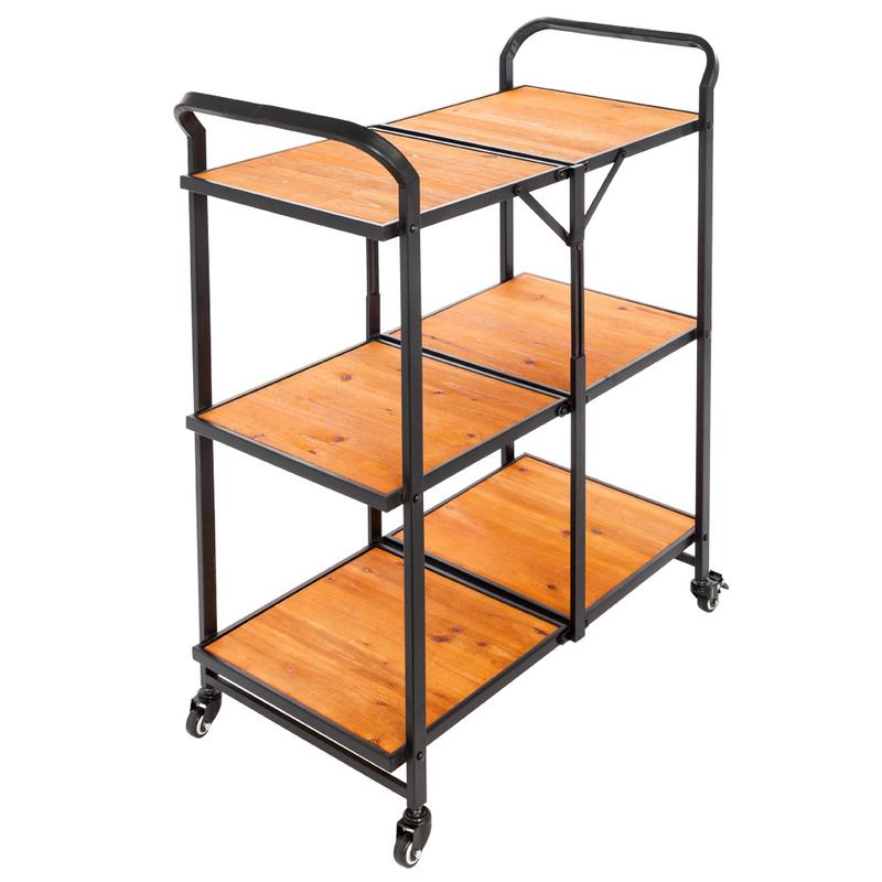 Iron And Wood Foldable Double Layer Multi-function Cart With Wheels Kitchen Tools