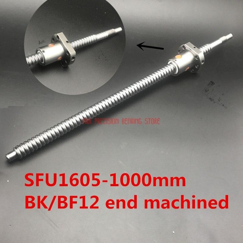 CNC pièces de routeur offre spéciale 16mm 1605 vis à billes roulé vis à billes 1 pc Sfu1605 L 1000mm avec écrou à billes CNC partie Bk/bf12 extrémité usinée