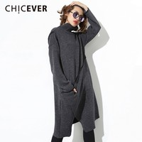 CHICEVER Autumn Winter Dresses Of The Big Sizes Turtleneck Long Sleeve Irregular Hem Knitting Dress Casual Clothes New
