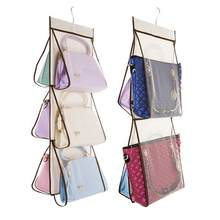 6 Pockets Space-Saving Wardrobe Closet Rotating Hanging Purse Organizer Handbag Mesh Storage Shelf Bags Shoes Collection Holder(China)