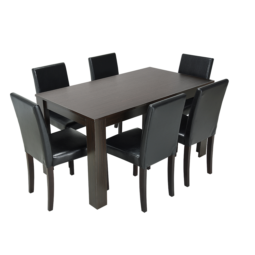 Panana Modern Kitchen Table Chairs Set for 6 Person Wooden Leg PU Leather Seater Dining Room Furniture Sets